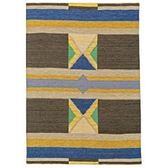 Midcentury Swedish Geometric Flat-Weave Wool Rug in Blue, Yellow, Brown & Green
