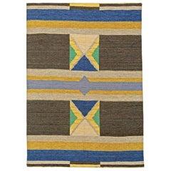 Midcentury Swedish Geometric Flat-Weave Wool Rug in Blue, Yellow, Brown & Green