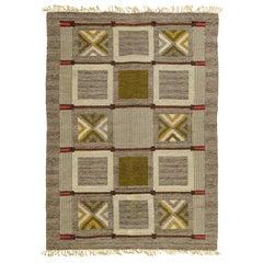 Mid-20th century Swedish Geometric Brown, Gray, Green Flat-Weave Wool Rug