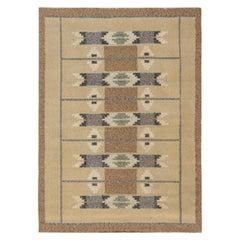 Midcentury Swedish Geometric Flat-Woven Wool Rug in Beige, Gray and Brown