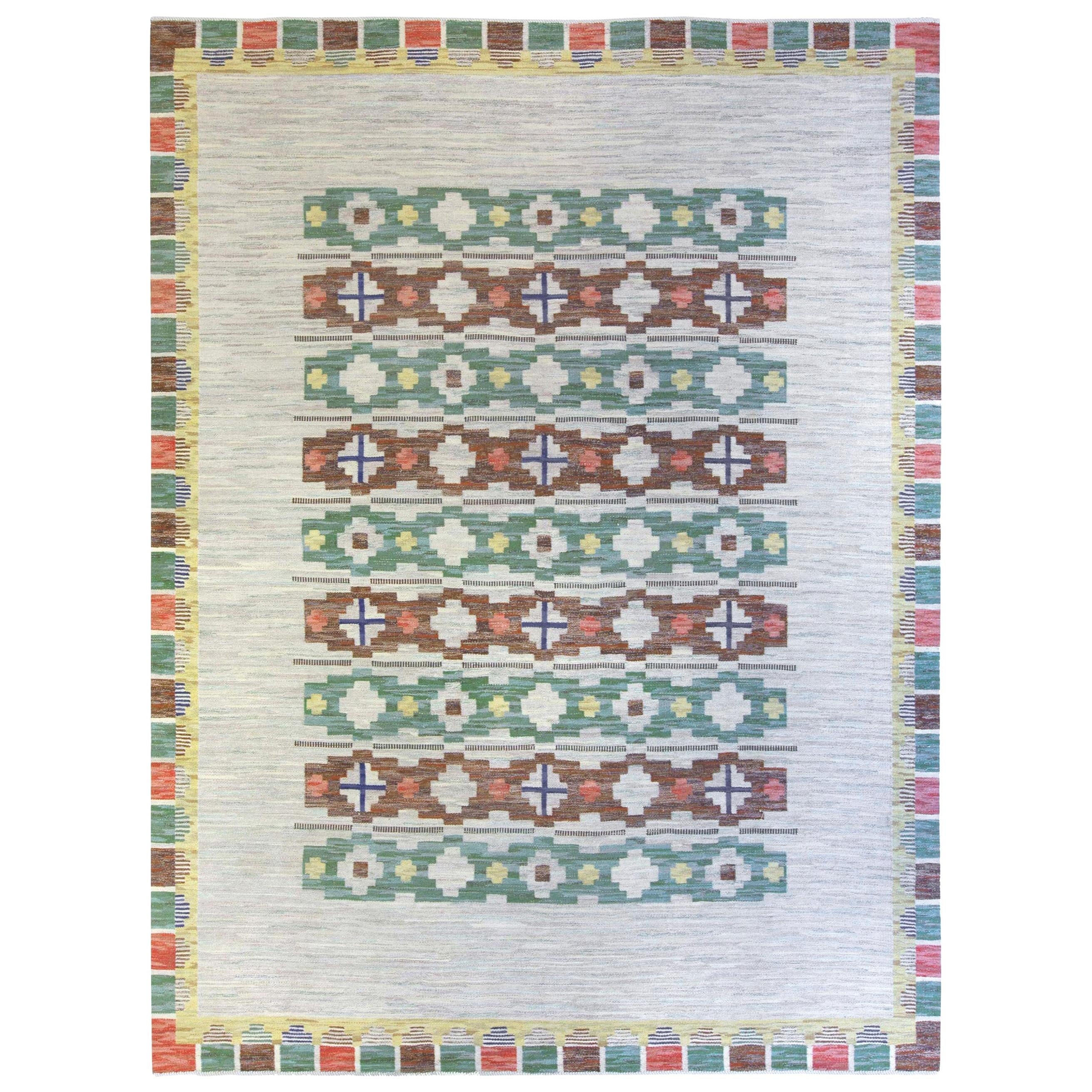 Midcentury Swedish Geometric Flat-Woven Wool Rug in Light Blue, Green and Brown