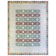 Midcentury Swedish Geometric Flat-Woven Wool Rug in Light Blue, Green and Brown