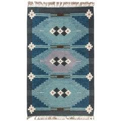 Midcentury Swedish Geometric Flat-Woven Wool Rug Signed by Ingegerd Silow