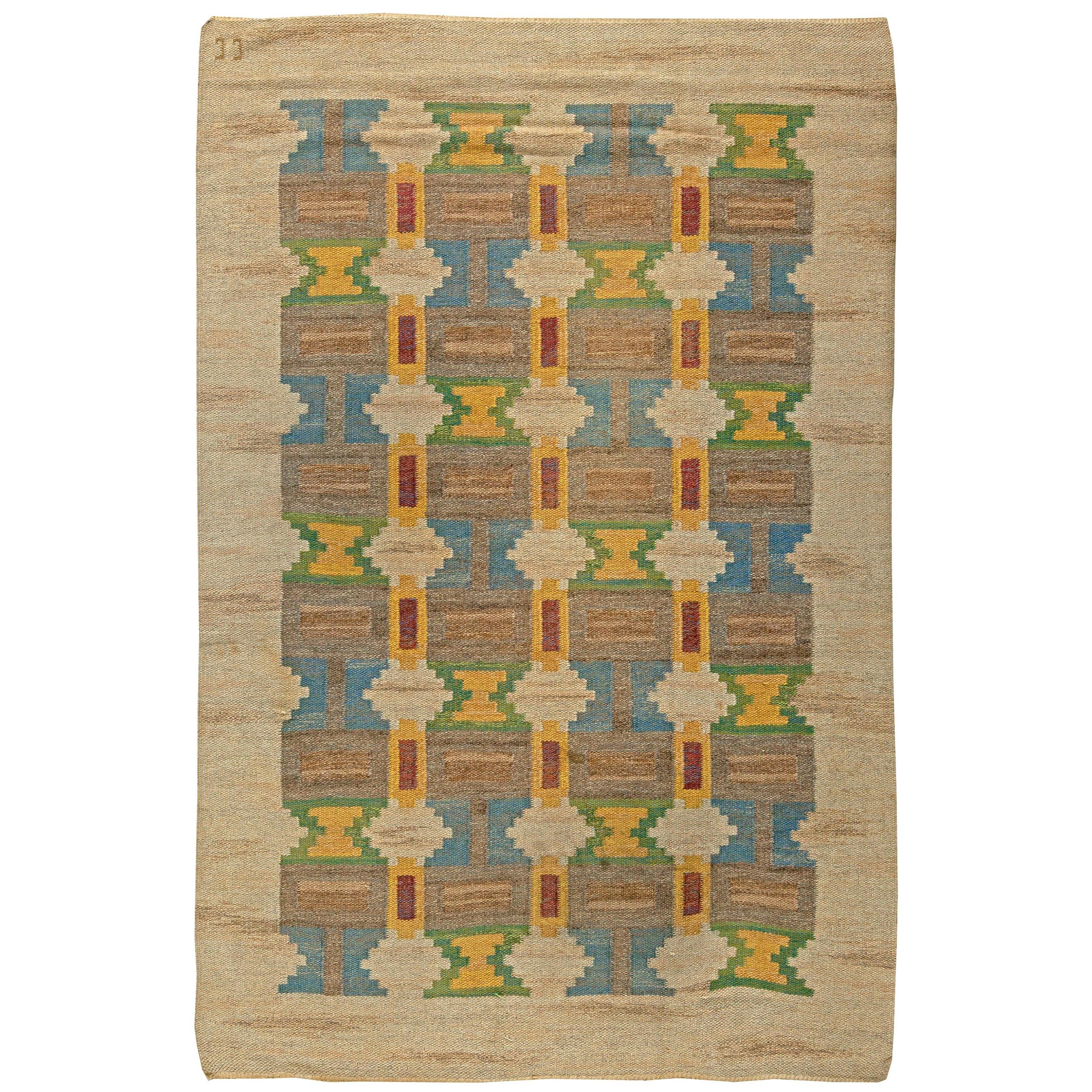 Midcentury Swedish Geometric Handmade Rug by Judith Johansson