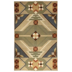 Midcentury Swedish Geometric Multicolored Handmade Wool Rug