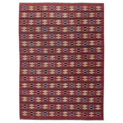 Midcentury Swedish Geometric Red, Blue & Yellow Flat-Weave Rug by Irma Kronlund