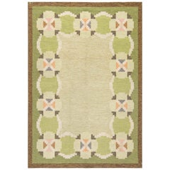 Midcentury Swedish Green and Beige Flat-Weave Wool Rug Signed by Ingegerd Silow