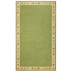 Midcentury Swedish Green and Beige Flat-Woven Rug