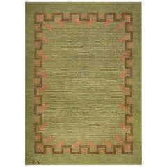 Midcentury Swedish Green and Coral Red Handmade Wool Rug by Ellen Stahlbrand