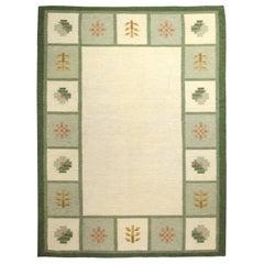 Midcentury Swedish Green, Beige and Gold Handmade Wool Rug