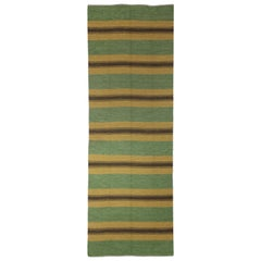 Midcentury Swedish Green, Brown and Yellow Handmade Wool Runner