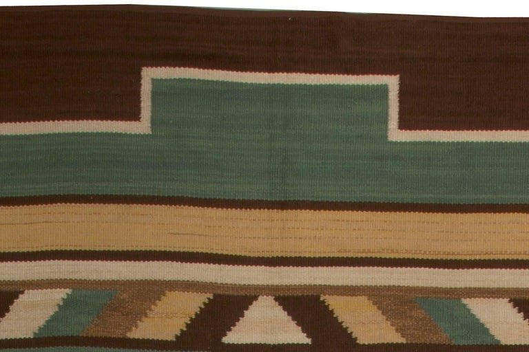 Midcentury Swedish Green Handwoven Wool Rug In Good Condition For Sale In New York, NY