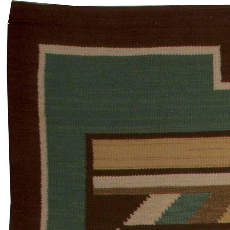 Midcentury Swedish Green Handwoven Wool Rug For Sale 1