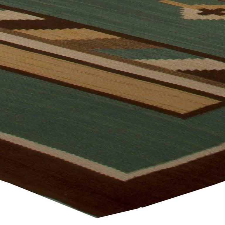Midcentury Swedish Green Handwoven Wool Rug For Sale 2