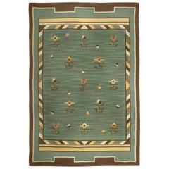 Midcentury Swedish Green Handwoven Wool Rug