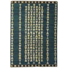 Midcentury Swedish Handmade Rug in Blue, Light Yellow and Gray