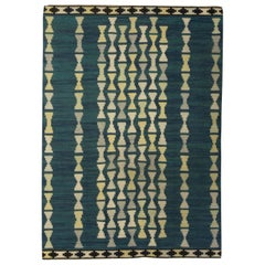 Midcentury Swedish Handmade Rug in Blue, Light Yellow and Gray