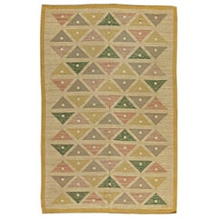 Midcentury Swedish Handmade Wool Rug by Sigvard Bernadette in Triangles