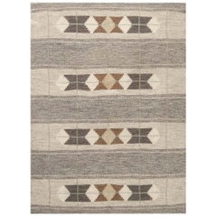Midcentury Swedish Handmade Wool Rug in Neutral Colors