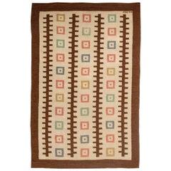 Midcentury Swedish Handmade Wool Rug with Geometric Design, Woven 'GO 1952'