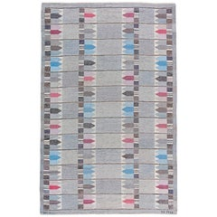 Midcentury Swedish Handwoven Wool Rug by Kertin Butler in Grey, Blue and Pink