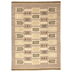 Midcentury Swedish Handwoven Wool Rug in Beige, Blue, White and Brown