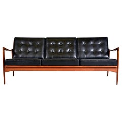 Midcentury Swedish Kandidaten Sofa Ib Kofod-Larsen OPE Mobler Teak Black Leather