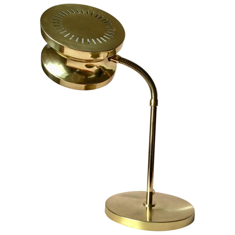 Midcentury Swedish Large Brass Table Lamp By Tyringe Konsthantverk