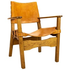 Midcentury Swedish Leather and Oak Hunter Style Chair, 1960s