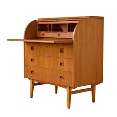 Midcentury Swedish Modern Egon Ostergaard Rolltop Secretary Desk with Key