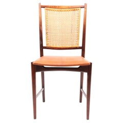 Midcentury Swedish Modern Side Chair with Patinated Leather Seat