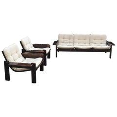 Midcentury Swedish Oak Sofa & 2 Lounge Chairs, Yngve Ekström for Swedese, 1970s