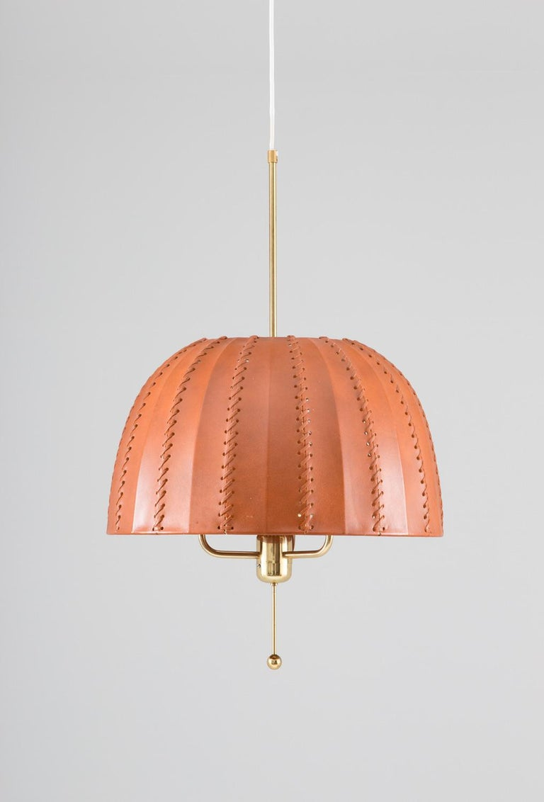 Scandinavian Modern Midcentury Swedish Pendants in Brass and Leather by Hans-Agne Jakobsson For Sale