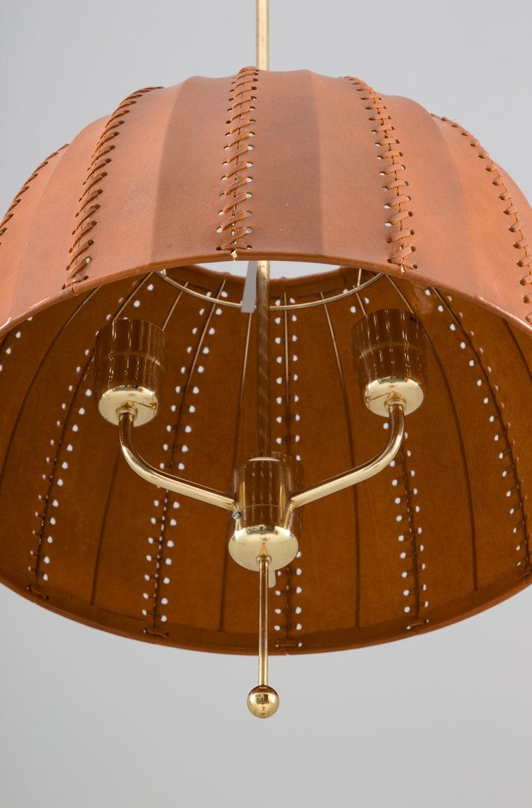Midcentury Swedish Pendants in Brass and Leather by Hans-Agne Jakobsson In Good Condition For Sale In Karlstad, SE