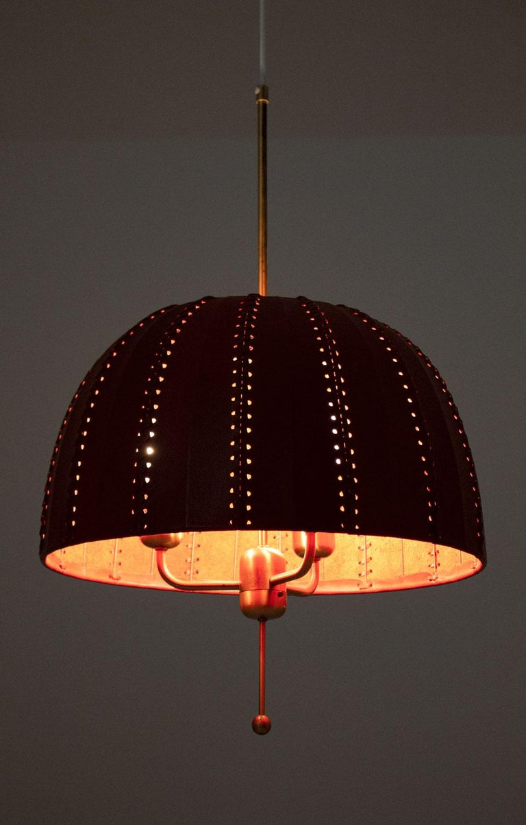 Midcentury Swedish Pendants in Brass and Leather by Hans-Agne Jakobsson For Sale 3