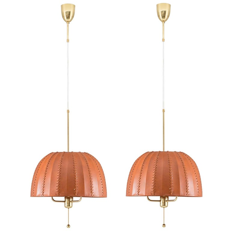 Midcentury Swedish Pendants in Brass and Leather by Hans-Agne Jakobsson For Sale