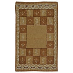 Midcentury Swedish Pile Handmade Wool Rug in Beige and Brown