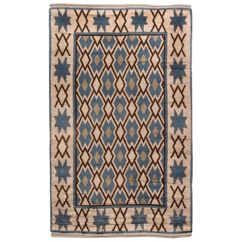 Midcentury Swedish Pile Rug in Blue, Brown and Beige