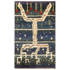 Midcentury Swedish Pile Rug in Navy Blue and White