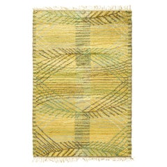 Midcentury Swedish Pile Yellow and Green Rya Rug by Märta Måås-Fjetterström