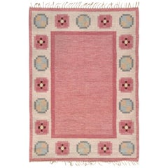 Midcentury Swedish Pink, Blue and Gray Flat-Weave Wool Rug
