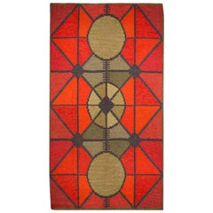 Midcentury Swedish Red and Gray Flat-Woven Rug, Sverige Riolakan by Polly Bjorkm
