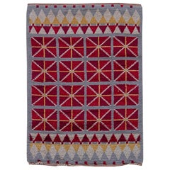 Midcentury Swedish Red and Silver Gray Hand Knotted Wool Rug