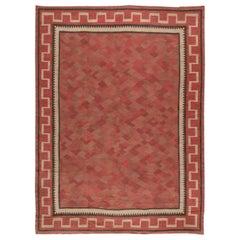 Midcentury Swedish Red, Burgundy and Carmine Flat-Woven Wool Rug