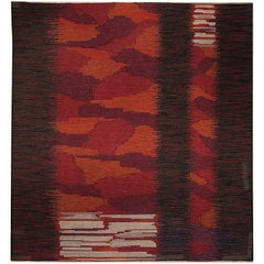 Midcentury Swedish Red, Burgundy and Orange Handmade Wool Rug