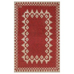 Midcentury Swedish Red Double Sided Flat-Weave Rug Signed with Initials BH