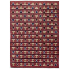 Midcentury Swedish Red Geometric Rölakan Rug by Irma Kronlund