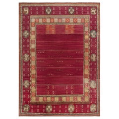 Midcentury Swedish Red Handmade Rug by Martha Ghan