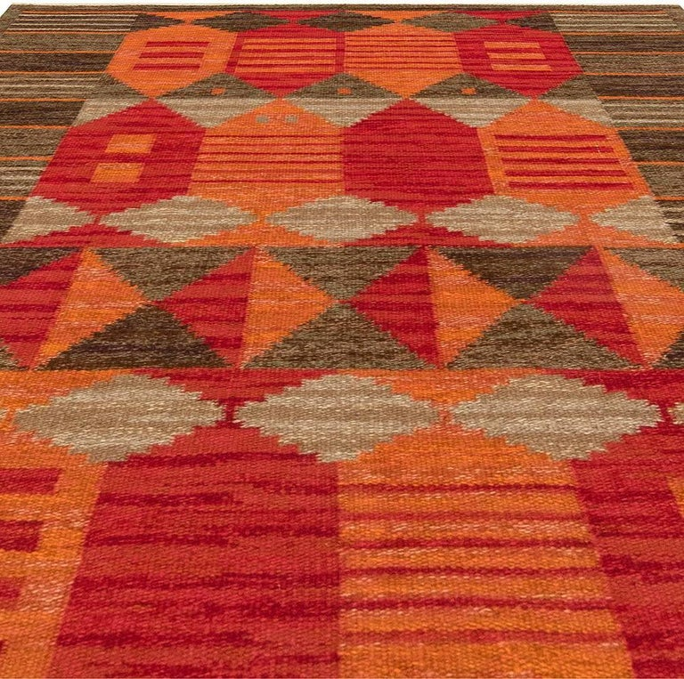 Mid-Century Modern Midcentury Swedish Red, Orange and Brown Flat-Woven Rug by Karin Jönsson For Sale