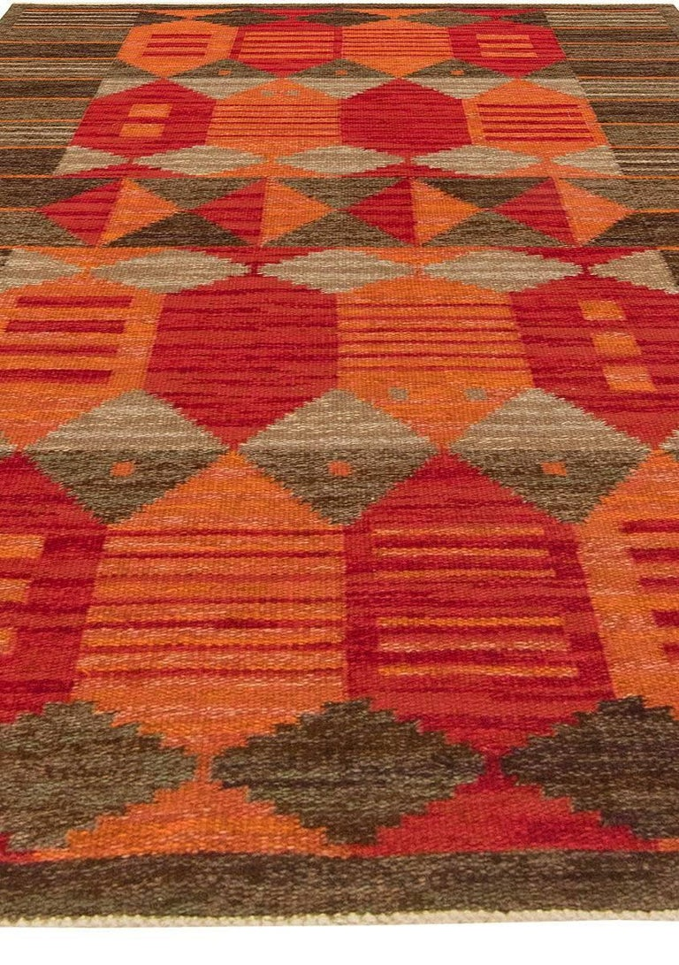 Hand-Knotted Midcentury Swedish Red, Orange and Brown Flat-Woven Rug by Karin Jönsson For Sale